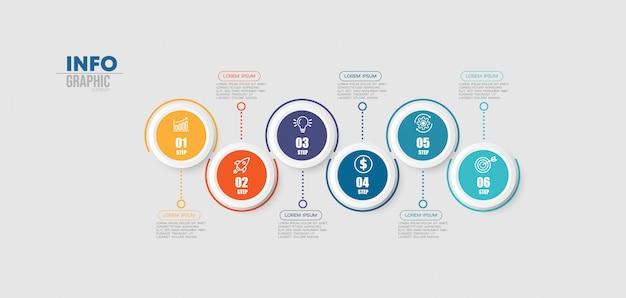 Elemento de infográfico com ícones e 6 opções ou etapas.