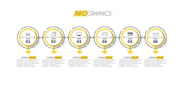 Elemento de infográfico com ícones e opções ou etapas.
