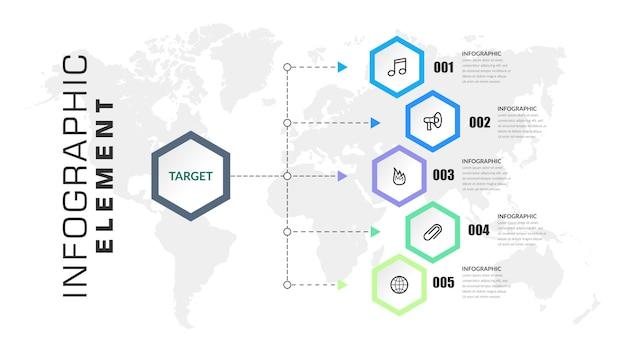 Elemento de infográfico de cinco etapas passo estratégia de negócios