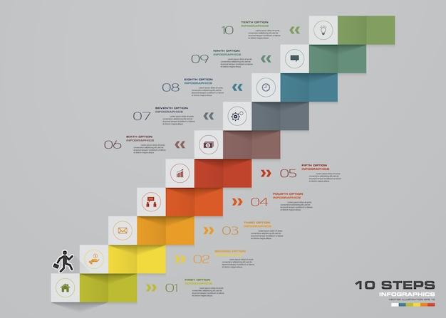 Elemento de infográfico de escadaria de 10 degraus para apresentação.