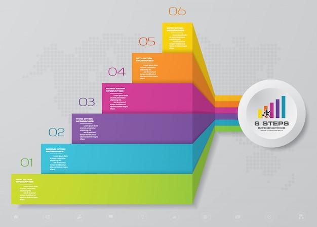 Elemento de infográfico de escadaria de 6 etapas para apresentação.