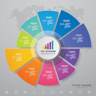 Elemento de infográfico de gráfico de ciclo