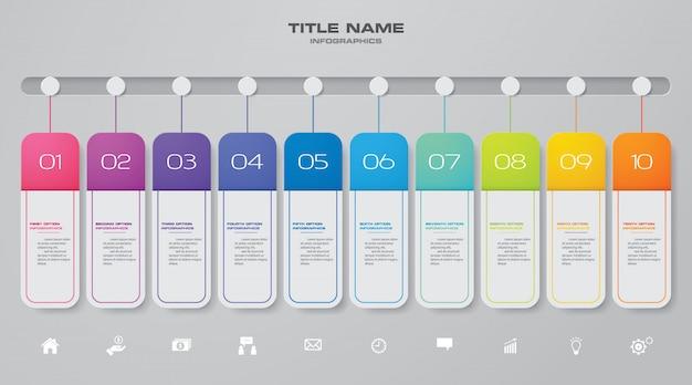 Elemento de infográfico de gráfico de linha do tempo.