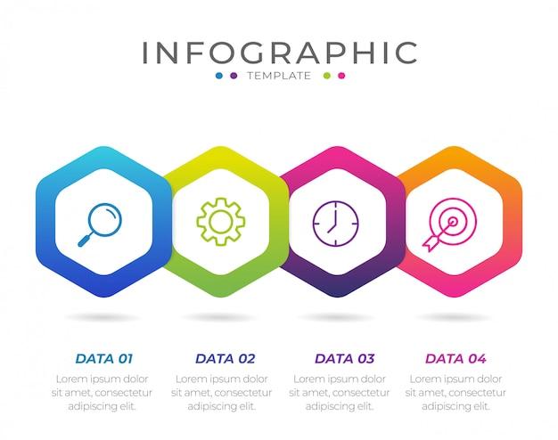 Elemento de infográfico de negócios com 4 opções, etapas, design de modelo de número