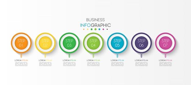 Elemento de infográfico de negócios com 7 opções ou etapas