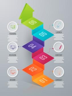 Elemento de infográfico de seta de seis níveis em 3d para negócios ou corpo