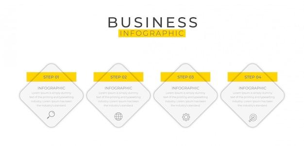 Elemento de infográfico negócios com 4 opções, etapas, design de modelo de número