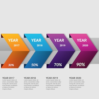 Elemento de infográfico negócios gradiente com 4 opções ou etapas