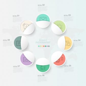 Elemento de infográficos 8 círculos linda e ícones para o conceito de negócio presente.