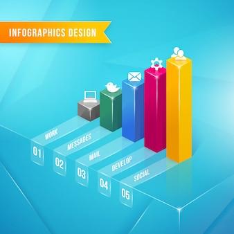 Elemento de infográficos de gráfico de barras 3d vetorial com ícones e texto