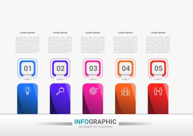 Elemento de infográficos de processos de negócios de etapas modelo de cronograma
