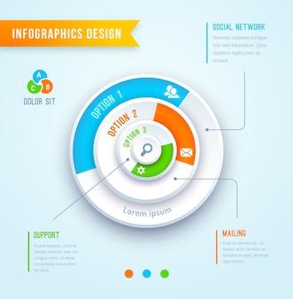 Elemento de infográficos do gráfico de pizza do vetor gráfico de círculo