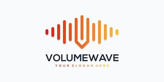 Elemento de jogador de onda de volume com pulso. modelo de logotipo.