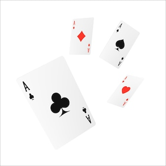 Elemento de jogo de casino de design de quatro cartas de jogo voador ou quads ace