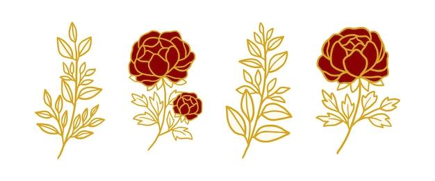 Elemento de logotipo vintage flor rosa botânica desenhada à mão
