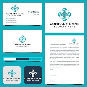 Elemento de mandala de logotipo sinal de negócios com e cartão de visita premium