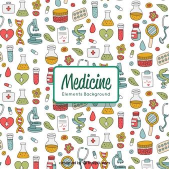 Elemento de medicina de fundo em estilo desenhado a mão Vetor grátis