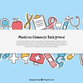 Elemento de medicina de fundo em estilo desenhado a mão