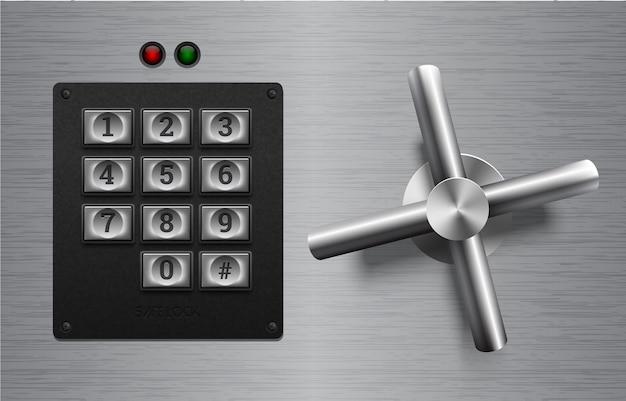 Elemento de metal de bloqueio seguro realista em fundo de metal escovado. roda de aço inoxidável. ícone do vetor ou elemento de design. botões do teclado no painel de plástico preto. conceito de proteção de privacidade de segurança.