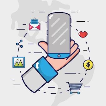 Elemento de mídia social para conectar-se à internet