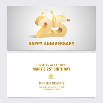 Elemento de modelo de convite de aniversário de 25 anos com letras 3d elegantes para convite de festa de 25 anos