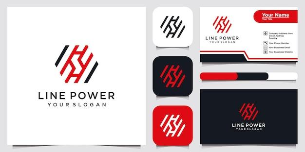 Elemento de modelo de ícone de design de logotipo de linha poder e cartão de visita