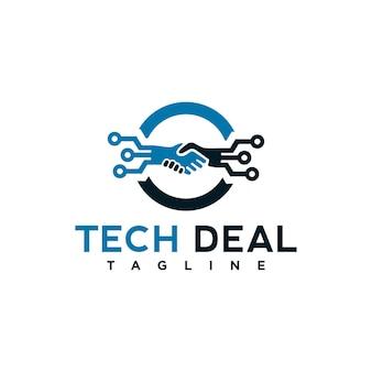 Elemento de modelo de logotipo de negócio de tecnologia com ilustração de aperto de mão