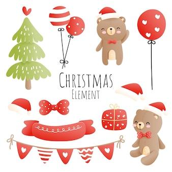 Elemento de natal com ursinho de pelúcia e árvore de natal