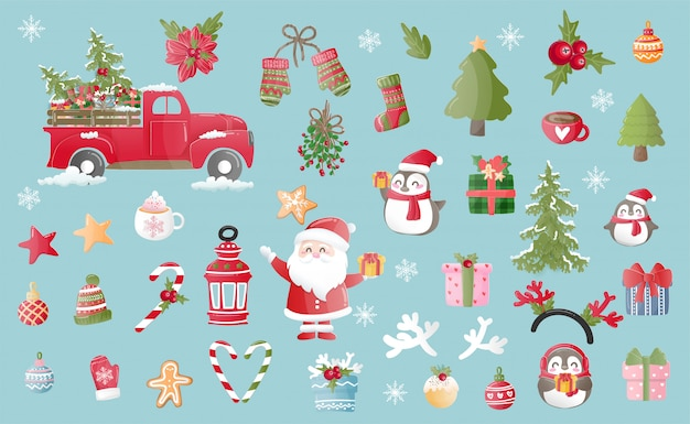 Elemento de natal no projeto dos desenhos animados para cartão de natal no estilo de corte de papel.