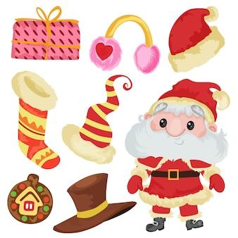 Elemento de natal papai noel chapéu de papai noel bonito