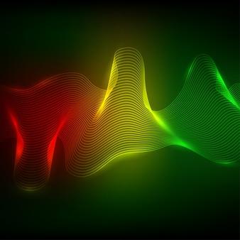 Elemento de onda de néon abstrata para design