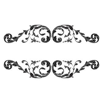 Elemento de ornamento vintage em estilo barroco com filigrana e floral gravar.