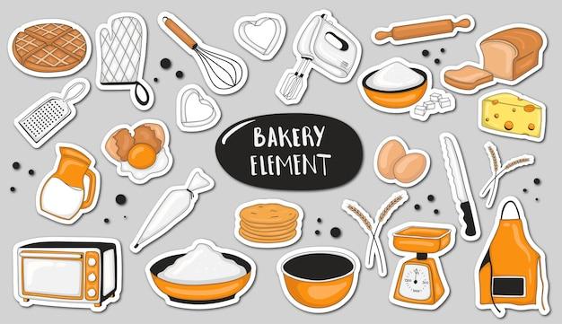 Elemento de padaria colorido desenhado à mão