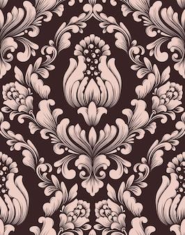Elemento de padrão sem emenda de damasco em vetor ornamento clássico de luxo à moda antiga de damasco