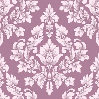 Elemento de padrão sem emenda do damasco. ornamento clássico de luxo à moda antiga em damasco, Vetor Premium