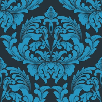 Elemento de padrão sem emenda do vetor do damasco. ornamento clássico de luxo à moda antiga em damasco, estilo real vitoriano