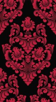 Elemento de padrão sem emenda do vetor do damasco. ornamento de damasco à moda antiga de luxo clássico, papéis de parede sem costura real vitoriano, têxteis, envolvimento.