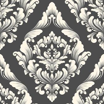 Elemento de padrão sem emenda do vetor do damasco. ornamento de damasco à moda antiga de luxo clássico, textura perfeita vitoriana real para papéis de parede, têxteis, envolvimento. modelo barroco floral requintado.