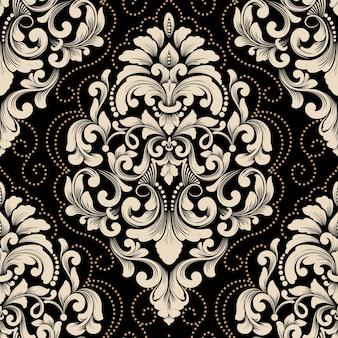 Elemento de padrão sem emenda do vetor do damasco.