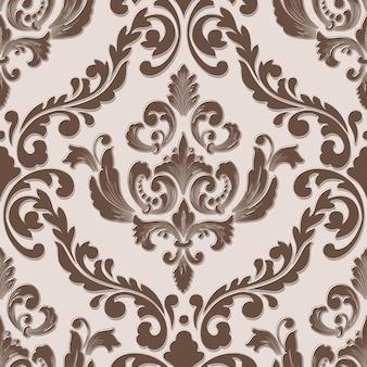 Elemento de padrão sem emenda volumétrico de damasco