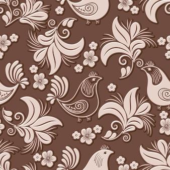 Elemento de padrão sem emenda volumétrico de flores e pássaros
