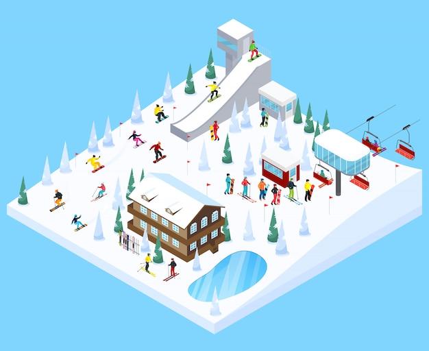Elemento de paisagem de aldeia de esqui
