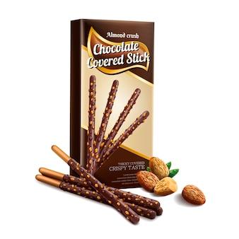 Elemento de palito coberto de chocolate, palito de chocolate com esmagamento de amêndoa e caixa de papel isolada no fundo branco