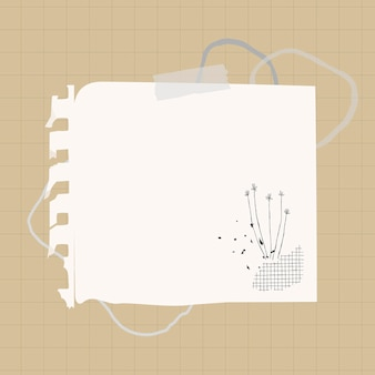 Elemento de papel branco de vetor de nota digital no estilo memphis