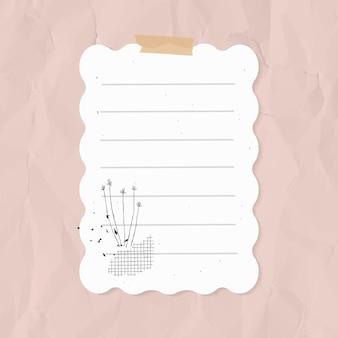 Elemento de papel forrado de vetor de nota digital no estilo memphis