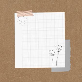 Elemento de papel quadriculado de vetor de nota digital no estilo memphis