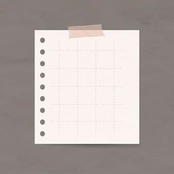 Elemento de papel quadriculado de vetor de nota digital