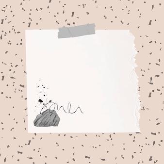 Elemento de papel rasgado de vetor de nota adesiva no estilo memphis