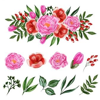 Elemento de peônias rosa e flores vermelhas isolado