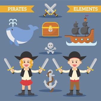 Elemento de piratas plana